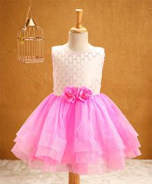 Babyhug Sleeveless Party Frock Floral Corsage - Pink