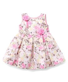 Babyhug Sleeveless Party Wear Frock Floral Applique - White Pink