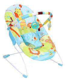 Mastela Music & Soothe Baby Bouncer Giraffe Print - Aqua Blue & Multicolor
