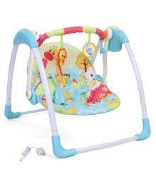 Mastela Deluxe Portable Swing Giraffe Print - Aqua Blue