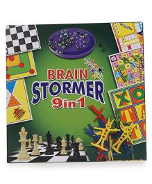 Ratnas Brain Stormer 9 In 1 Board Game Pack - Multicolor