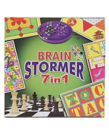Ratnas Brain Stormer 7 In 1 Board Game Pack - Multicolor