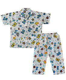Bownbee Butterfly Print Night Suit - Blue