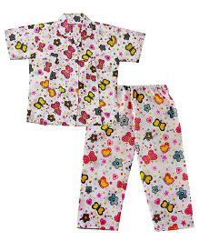 Bownbee Butterfly Print Night Suit - Pink