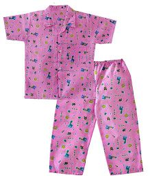 Bownbee Zoo Safari Night Suit - Pink