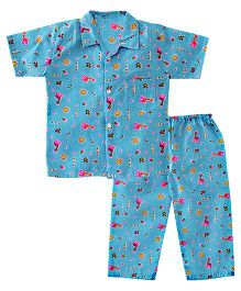 Bownbee Zoo Safari Night Suit - Blue