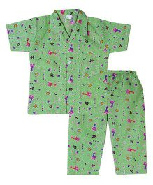 Bownbee Zoo Safari Night Suit - Green