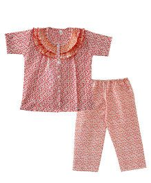 Bownbee Flower Print Frilly Night Suit - Orange
