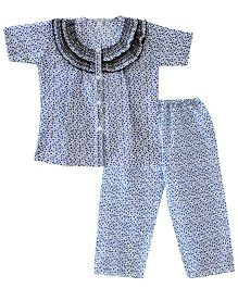 Bownbee Flower Print Frilly Night Suit - Blue