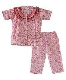 Bownbee Flower Print Frilly Night Suit - Red