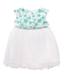 Party Princess Tutu Dress With Small Flowers - Blue