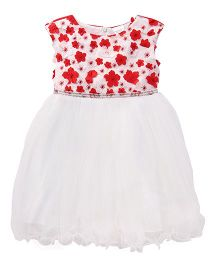 Party Princess Tutu Dress With Small Flowers - White