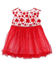 Party Princess Tutu Dress With Small Flowers - Red