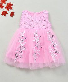 Party Princess Party Dress With Sequence Work - Pink