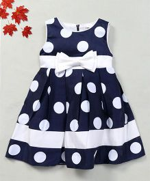 Party Princess Dress With Polka Dot & Bow - Navy Blue
