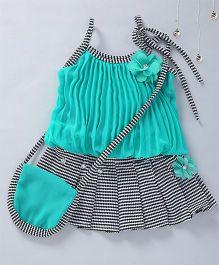 Aarika Stripe Skirt And Top Set With Bag - Green