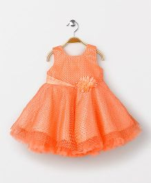 Babyhug Sleeveless Party Wear Frock With Floral Applique - Peach