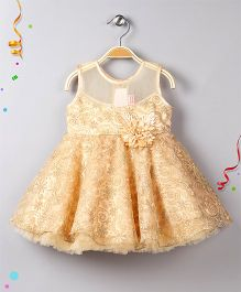 Babyhug Sleeveless Floral Applique Party Wear Dress - Golden