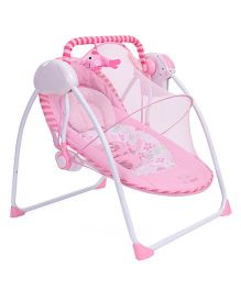 Primi Portable Swing With Full Mosquito Net Floral Print - Pink