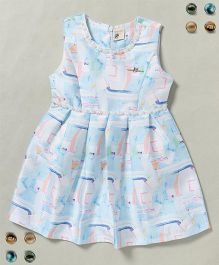 100 Kids Sleeveless Dress With Pearls On Neck - Blue