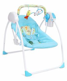 Baby Primi Swing With Two Hanging Toys Animal Print - Blue