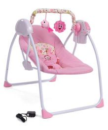Baby Primi Swing With Two Hanging Toys Floral Print - Pink