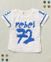 100 Kids Rebel 72 Print Crew Neck Tee - White & Blue