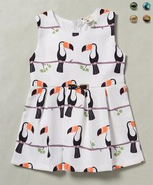 100 Kids Bird Print Sleeveless Dress - White Black & Peach