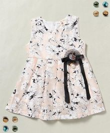 100 Kids Floral Print Sleeveless Dress  - Cream