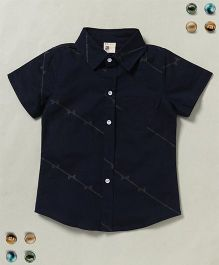 100 Kids Trendy Collar Neck Half Sleeves Shirt - Dark Blue
