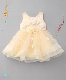Babyhug Sleeveless Floral Embroidered Partywear Dress - Light Yellow