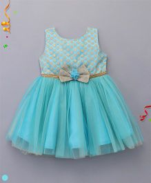 Babyhug Sleeveless Party Wear Dress Bow Design - Blue