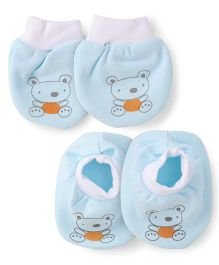 Simply Mittens & Booties Set Teddy Print - Light Blue White