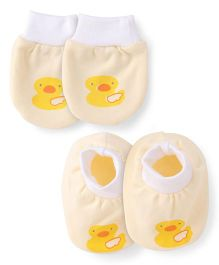 Simply Mittens & Booties Set Duck Print - Light Yellow White