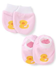 Simply Mittens & Booties Set Duck Print - Light Pink White