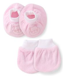 Simply Mittens & Booties Set  - Light Pink White
