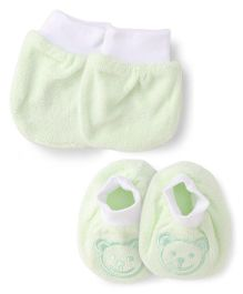 Simply Mittens & Booties Set  - Light Green White
