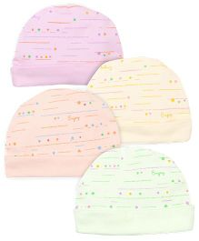 Simply Printed Caps Pack Of 4 - Pink Green Peach Yellow