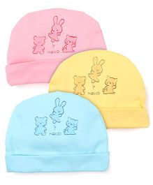 Simply Printed Caps Pack Of 3 - Blue Pink Yellow