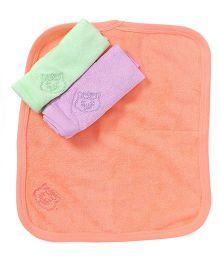 Simply Hand & Face Towels Pack Of 3 - Peach Purple Green