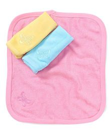 Simply Hand & Face Towels Pack Of 3 - Pink Blue Yellow