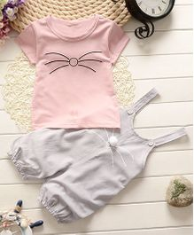 Tickles 4 U Kitten Print Tee & Dungaree - Pink