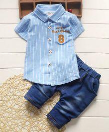 Tickles 4 U Verticle Stripe Boys Shirt & Denim Pant - Blue