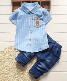 Tickles 4 U Verticle Stripe Boys Shirt & Denim Pant - Blue