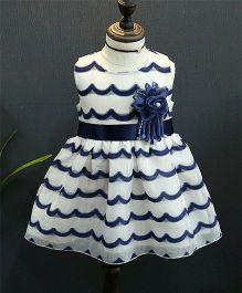 Tickles 4 U Wave Design Fit & Flare Dress - White