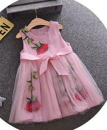 Tickles 4 U Rose Printed Flare See Through Dress - Pink