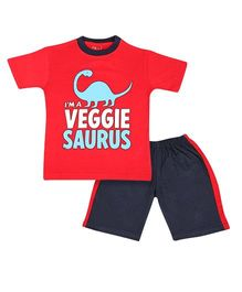Tickles 4 U Dino Printed Tee With Shorts - Red