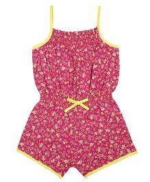 Tickles 4 U Floral Printed Jumpsuit - Pink