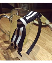 Tickles 4 U Striped Bow Headband - Black