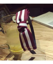 Tickles 4 U Striped Bow Headband - Maroon